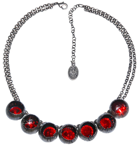 necklace Cocoon red antique silver
