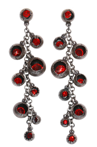 earring stud dangling Cocoon red antique silver