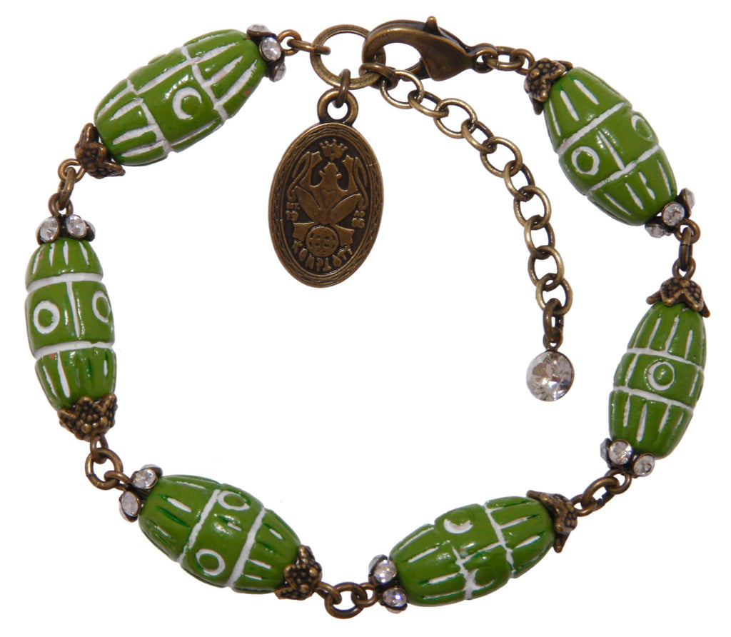 bracelet Ab Originum green antique brass