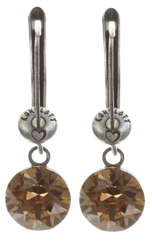 earring dangling Black Jack beige antique silver SS 39