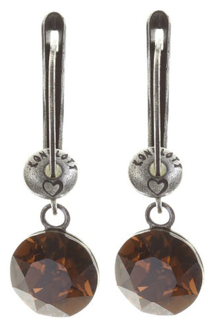 earring dangling Black Jack brown antique silver SS 39