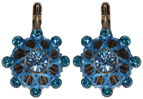 earring eurowire Oriental Architecture blue antique brass