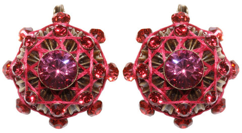 earring eurowire Oriental Architecture pink antique brass