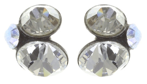 earring stud Disco Star icy white antique silver
