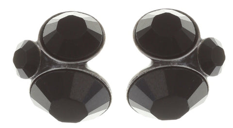 earring stud Disco Star pure black antique silver