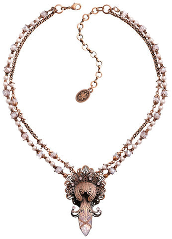 necklace Harakiri Bloom pink antique copper medium
