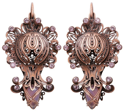 earring eurowire Harakiri Bloom pink antique copper extra small