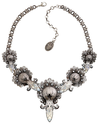 necklace Harakiri Bloom white antique silver large, medium, small