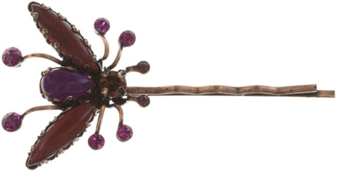 hairpin Flower Zumzum dark rose/ brown antique copper