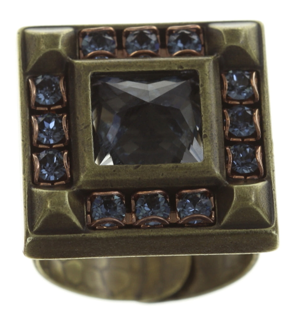 ring Iceberg De Luxe blue antique brass