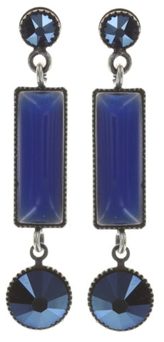 earring stud dangling Shake to the Rhythm blue antique silver