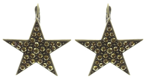 earring eurowire Dancing Star brown antique brass large