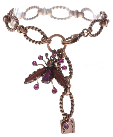 bracelet Flower Zumzum dark rose/ brown antique copper