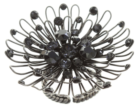 ring Distel black antique silver large