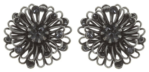 earring stud Distel black antique silver extra small