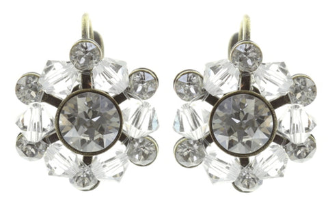 earring eurowire Dutchess white antique brass
