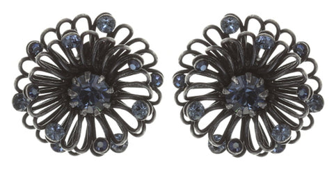 earring stud Distel blue Dark Antique Silver extra small
