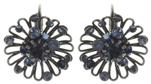 earring eurowire Distel blue Dark Antique Silver extra small
