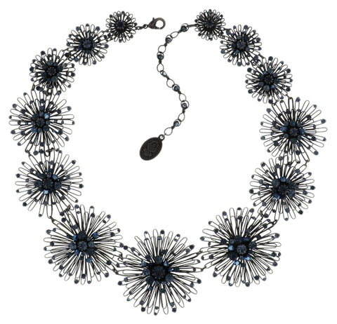 necklace collier Distel blue Dark Antique Silver
