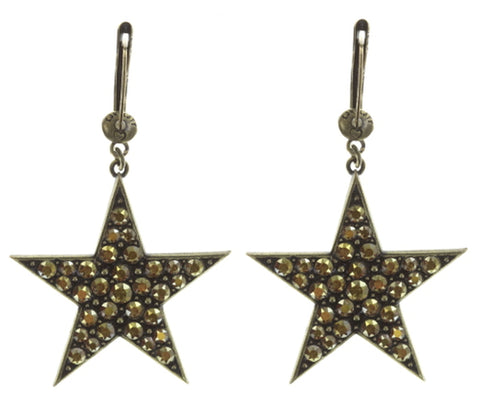 earring dangling Dancing Star brown antique brass large