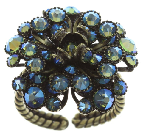 ring MyRouge blue/green antique brass small