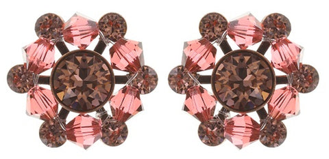 earring stud Dutchess pink antique copper