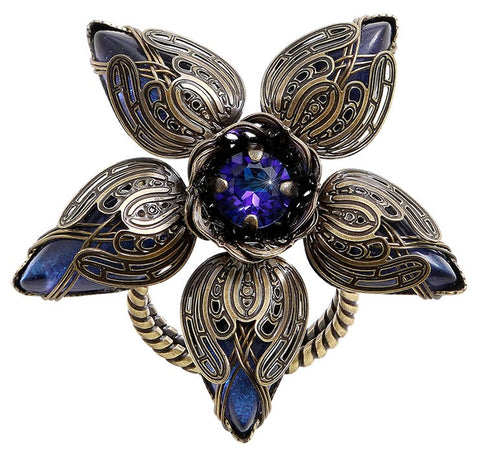 ring Harakiri Bloom blue/lila antique brass