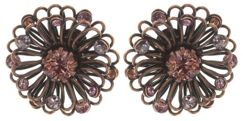 earring stud Distel pink antique copper extra small
