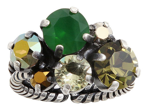 ring Ballroom green/brown antique silver
