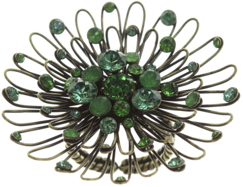 ring Distel green antique brass large