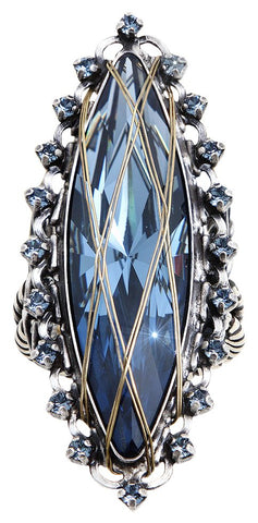 ring Global Glam blue antique silver/antique brass big