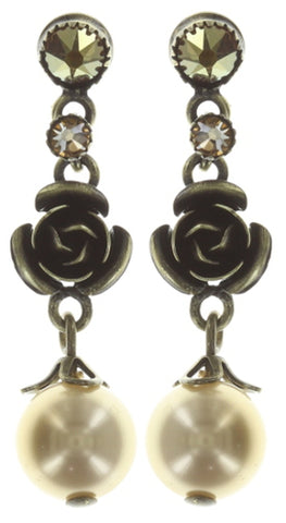 earring stud dangling Indian Roses beige antique brass extra small