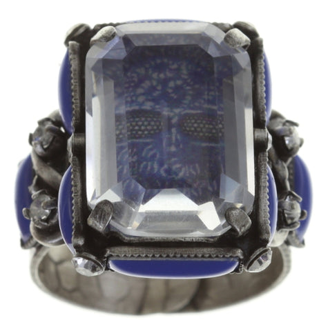 ring Color on the Rocks blue antique silver size L