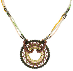 necklace Paisley African pastel multi antique brass