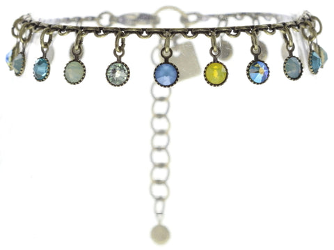 bracelet Waterfalls blue/green/yellow antique brass