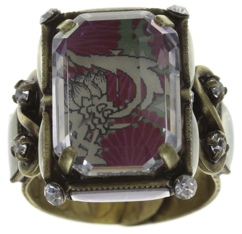 ring Color on the Rocks white/pink Light antique brass size L
