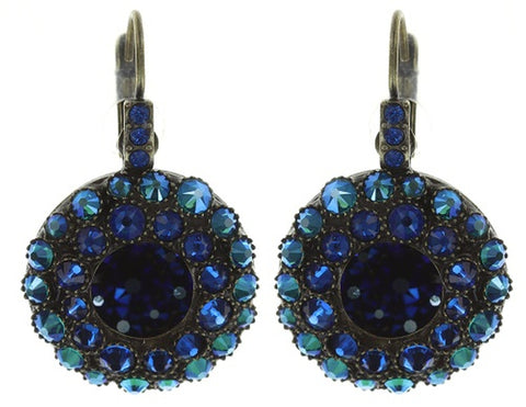 earring eurowire Inside Out blue/green antique brass size S