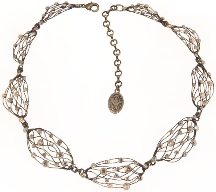 necklace Cages beige antique brass