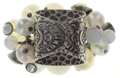 ring Caviar de Luxe white antique silver