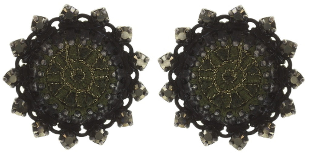 earring stud Kalinka dark green antique silver