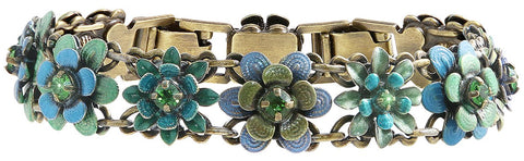 bracelet Mille Fleurs blue/green antique brass