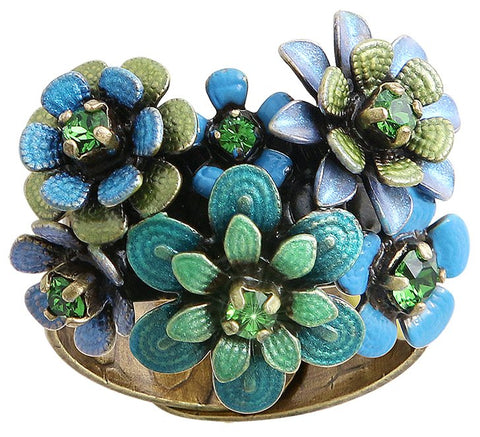 ring Mille Fleurs blue/green antique brass