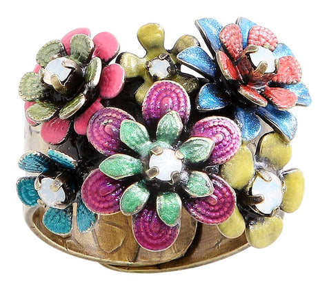 ring Mille Fleurs multi antique brass