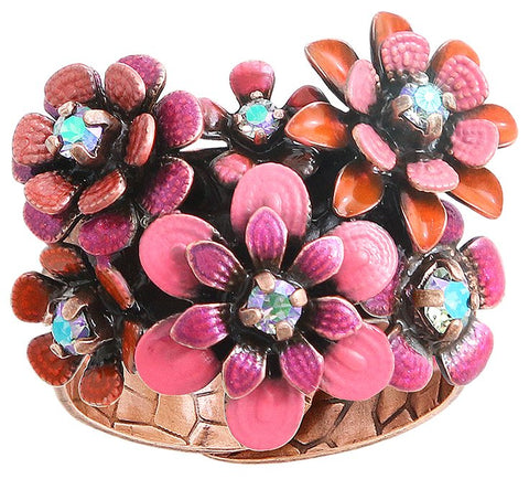 ring Mille Fleurs red/orange antique copper
