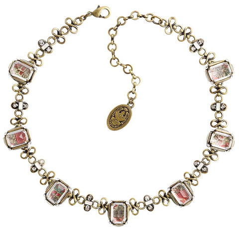 necklace Color on the Rocks white/pink Light antique brass size M