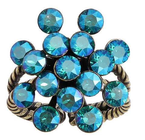 ring Magic Fireball blue/green antique brass