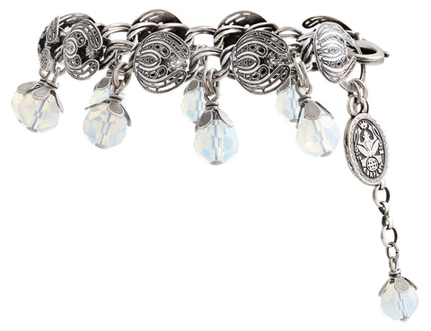 bracelet Water Blossom white antique silver