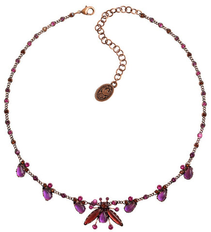 necklace Flower Zumzum dark rose/ brown antique copper