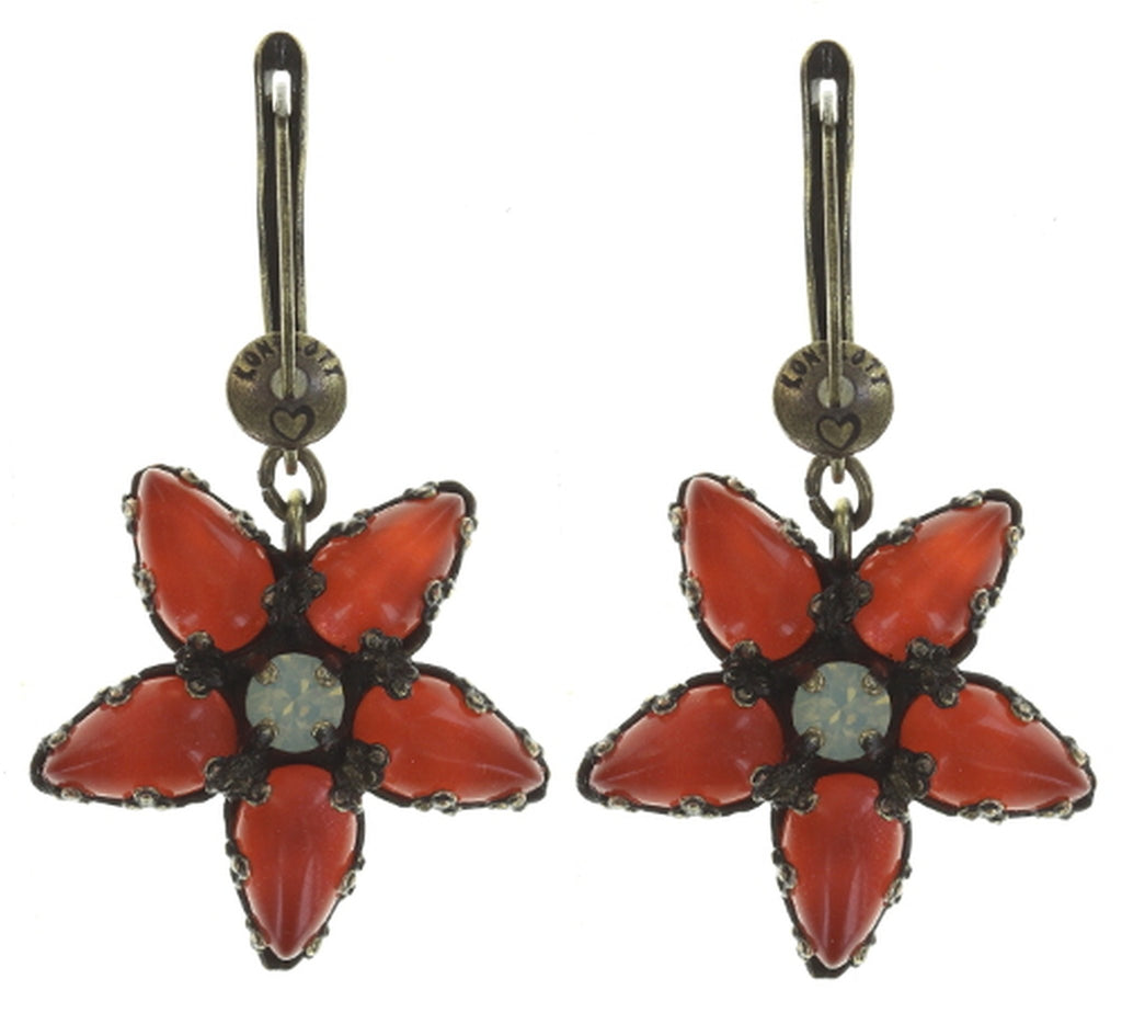 earring dangling Twisted Flower red antique brass