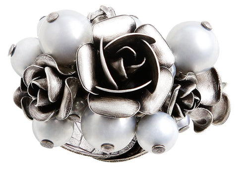 ring Indian Roses grey antique silver large, medium, extra small